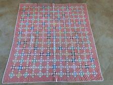 Antique nine patch quilt - pink 1920-1940