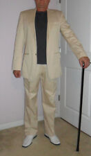 "Super Italian Hand Tailor S-XL 2 Button Suit,W-36"" Inc.31"" IVORY SOLID Polyeste"