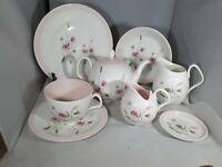 Vintage Random Set Foley Maytime Teapot Creamer Plate Cup & Saucer x 8 pieces