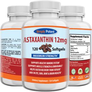 Astaxanthin 12mg 120 Softgels, Huge 4 Month Supply, Natural Gluten Free Gel Caps