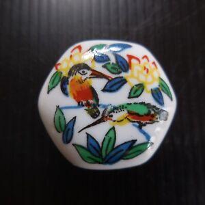 Boite bijou miniature YR céramique porcelaine blanc art déco fleur oiseau N7426