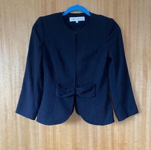 Paddy Campbell Ladies Black Wool Blazer UK Size 8 Bow Detail Jacket