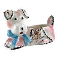 "Vintage Ceramic Dog Planter White Pink w/Blue Bow 6x4"" EX-734"