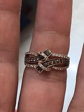 Le VIAN 14K ROSE GOLD 065 ct  DIAMOND CHOCOLATE BROWN & WHITE DIAMONDS RING