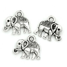 50PCs Charms Pendants Elephant Animal Silver Tone 14x12mm Jewelry Making