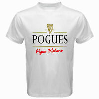 New THE POGUES Unique Logo Punk Irish Rock Band Mens White T-Shirt Size S to 3XL