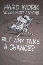 Peanuts Snoopy TShirt Size Medium Hard Work Never Hurt Free Ship - 0214L84