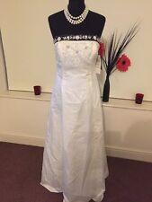 Vestido De Novia Vestido de Boda Tamaño 12 Marfil y Azul Marino línea A