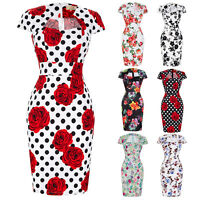 Floral 1950s Vintage Style Pin Up Cocktail Party Women Wiggle Pencil Dress S~3XL