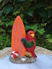 Miniature Dollhouse FAIRY GARDEN ~ Sea BEACH Island Parrot with Surfboard