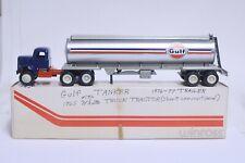 NICE VINTAGE WINROSS GULF OIL TANKER TRACTOR TRAILER W/ BOX