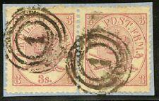 Denmark 1865 Royal Emblems Scott 12 Used Pair on Paper Cv$150+