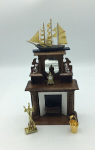 Dolls House Tall Fireplace With Ornaments And Accessories