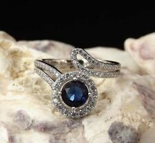 Lab-Created Sapphire Cluster Sterling Silver Fine Rings