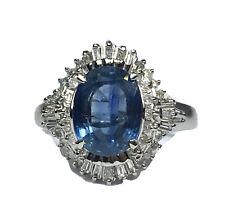 3.17 ct NATURAL DIAMOND ceylon sapphire halo ring SOLID PLATINUM