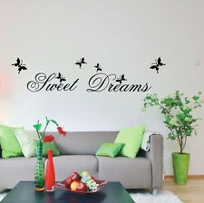 SWEET DREAMS BUTTERFLY LARGE WALL ART QUOTE STICKER - BEDROOM LOUNGE LOVE DECAL
