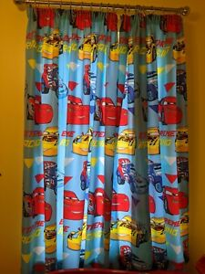 """66"""" Wide x 72"""" Tall DISNEY PIXAR CARS CURTAINS & Rings Boys Blue 100% Polyester"""