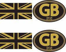 GB Union Jack Sticker Set Small Black Gold Car Van Motorbike Scooter Vespa Vdub