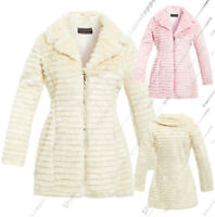 FAUX FUR COAT NEW Womens Size 8 10 12 14 16 Ladies JACKET Winter
