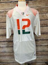 "Authentic Miami Hurricanes ""The U"" Nike Football Sewn Jersey White #12 Jim Kelly"