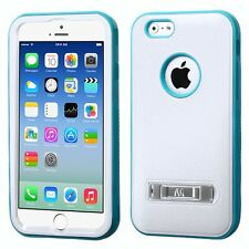 for APPLE iPhone 6 /6S ( REGULAR) WHITE TEAL VERGE STAND COVER CASE+GLASS SCREEN