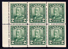 Canada #150a - King George V Scroll, 2 cents Green Booklet Pane of 6, VF+ 1928