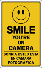 SMILE YOU'RE ON CAMERA Sign Security Video Surveillance Retail Store Business