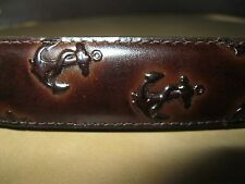 NWT $128 Jack Spade Brown Leather Anchor Embossed Belt, Size 30, Made in USA