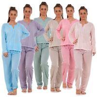 Ladies Pyjama Set V Neck Floral Printed Long Sleeve Quality Cotton Nightwear PJs