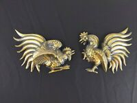 Vintage Cast Aluminum Fighting Roosters wall plaques Sconce hanging decor