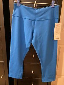 Lululemon 8 Wunder Under Crop Capri Reversible Solid Black Blue Legging Pants NW