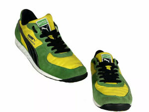 Puma Easy Rider III Green Suede & Yellow Athletic Shoes Size US 9