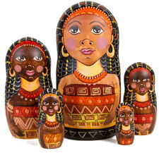 African Queen Nesting Doll. Black Girl Black Women Figurine. African Art