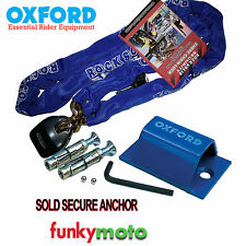 1.8SW CHAIN LOCK & OXFORD SOLD SECURE MOTORCYCLE GROUND ANCHOR SECURITY SET PACK