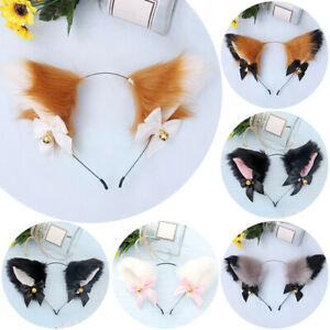 Fluffy Cat Ear Cute Cosplay Costume With Bell Headband Furry Costume Fun Party