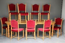 Signed Danish dining suite 10 chairs + extension table Baronial antique Vintage