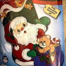 """18""""  """"Starlight Santa"""" Christmas Stocking Kit 5248 Felt Sequins Design Works"""