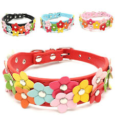Neck Adjustable Leather Pet Collar Puppy Cat Collars Multi Flower Dog Necklace