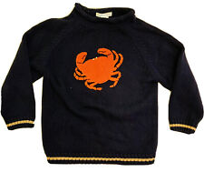 Janie & Jack Sz 4 Navy Blue Cotton Crab Sweater Nautical EUC