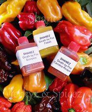 Sale! 3x15ml Shanez 'Death By Fire'(Hot Sauce)Chilli Reaper Fatalii Scorp.