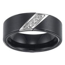 Triton Mens Black Tungsten 3 Diamond Stone Wedding Band $500 1/10cttw Size 10/11