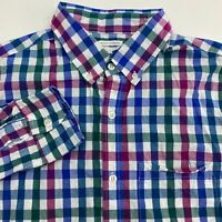 Old Navy Button Up Shirt Men's Size Medium Long Sleeve Blue Green White Purple