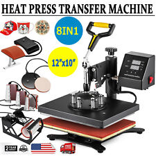 "8 In 1 Digital Heat Press Machine Sublimation For T-Shirt Mug Plate Hat 12""x10"""