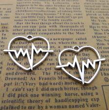10pcs Heart Charms Heartbeat ECG Pattern Tibetan Silver Bead Pendant DIY 25*30mm