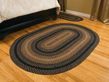 "IHF Home Decor Ebony Design Braided Area Rug Jute Oval Floor Carpet 20"" x 30"""