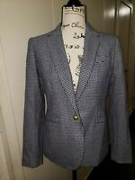 J. Crew Campbell Blazer in Houndstooth Womens Size 6 Blue & White Style F4304