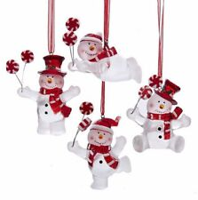 KSA SET OF 4 FROSTED ACRYLIC SNOWMEN HOLDING PEPPERMINT CANDY XMAS ORNAMENTS