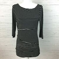 White House Black Market Women's Black and White Stripe Knit Dress Small