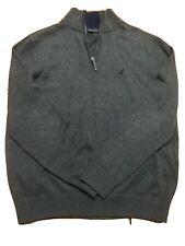 Nautica Mens Gray Quarter Zip Long Sleeves Sweater Top Size MEDIUM