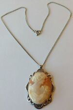 VINTAGE ART DECO STERLING SILVER SHELL CAMEO PENDANT NECKLACE MF44